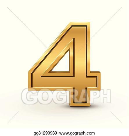 Number 4 clipart bright. Vector art d golden
