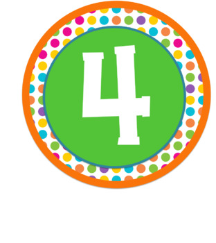 Melonheadz kids themed table. Number 4 clipart bright