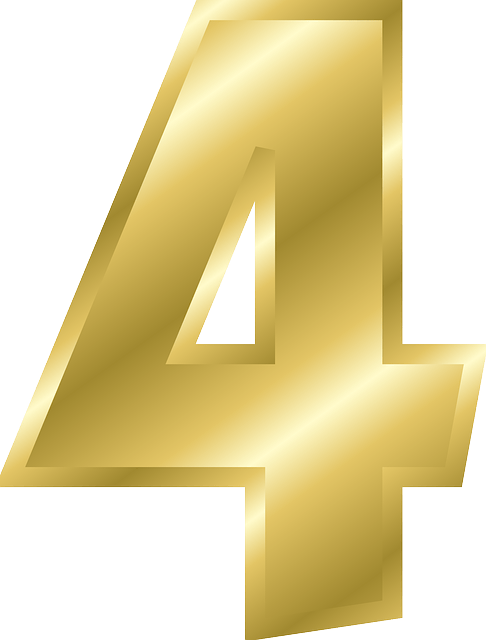 Transparent png stickpng . Number 4 clipart gold