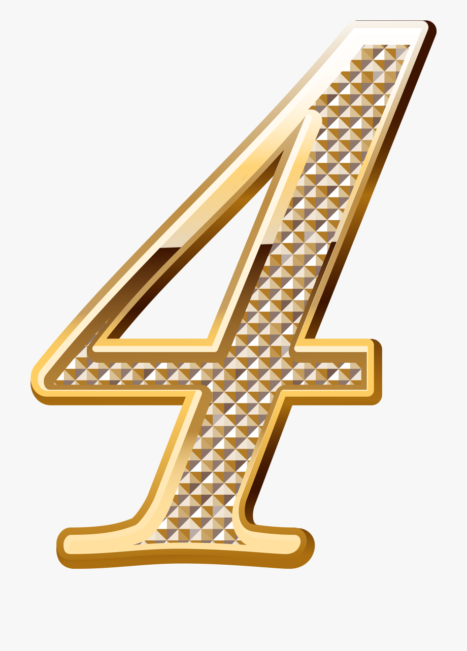 Number 4 clipart gold. Numbers fonts math ribbon