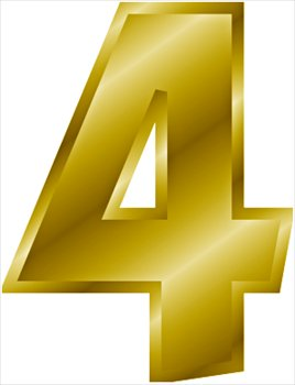 Clip art bay . Number 4 clipart gold