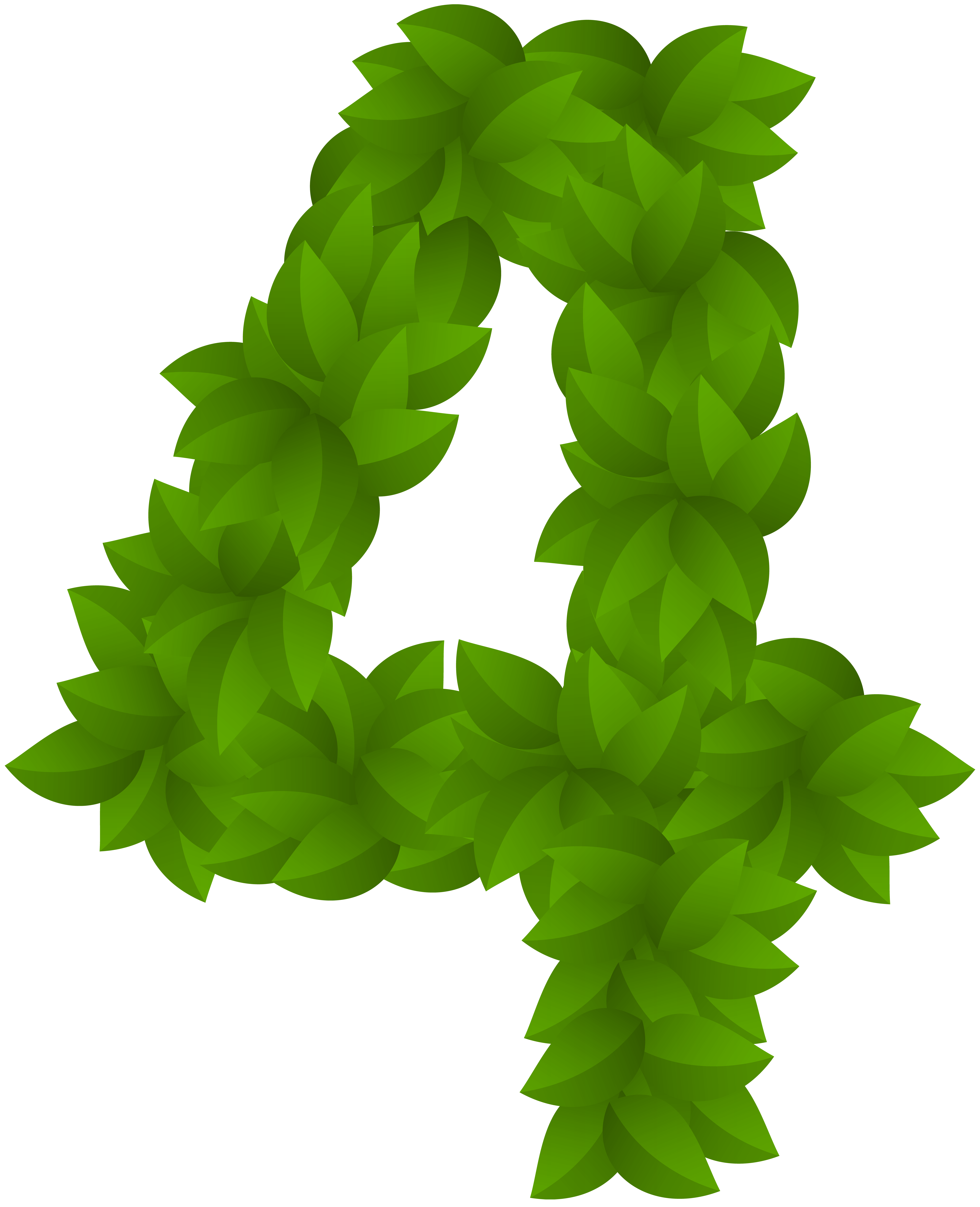Leaf number four png. 4 clipart green
