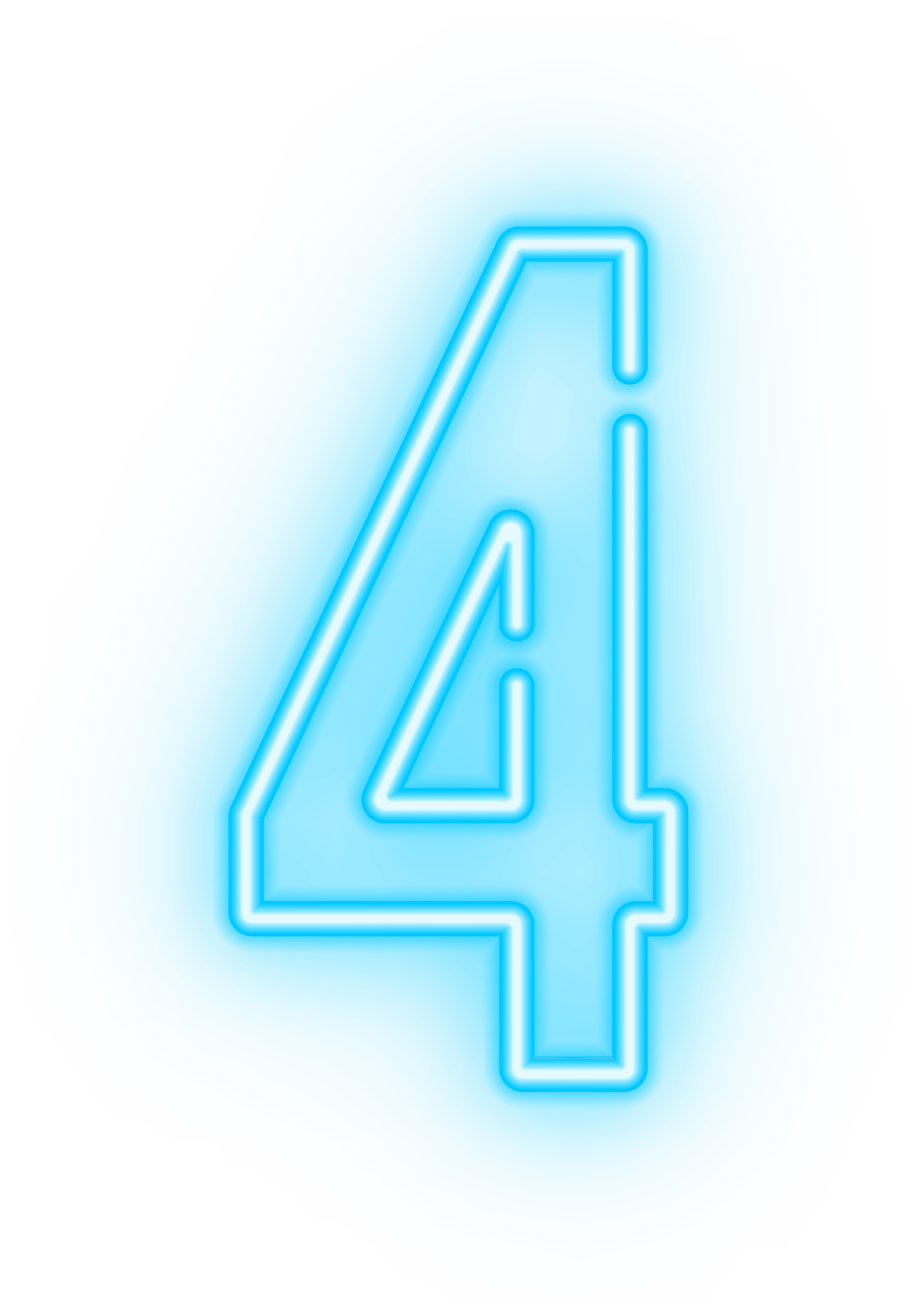 Neon number four clip. 4 clipart transparent