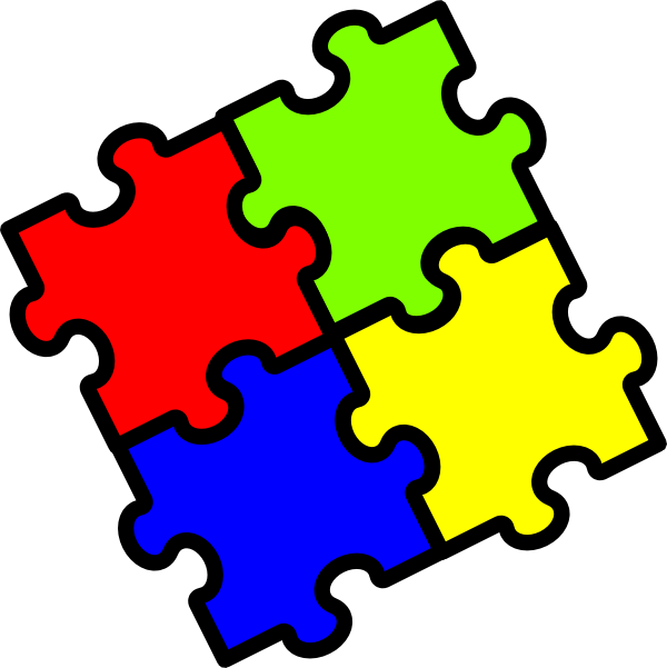 Jigsaw colours clip art. Number 4 clipart number puzzle