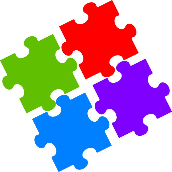 Jigsaw clip art at. Number 4 clipart number puzzle