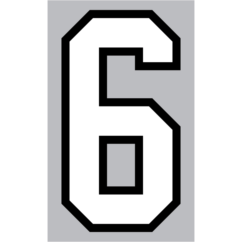 Number 6 clipart individual number.  athletic numbers inch