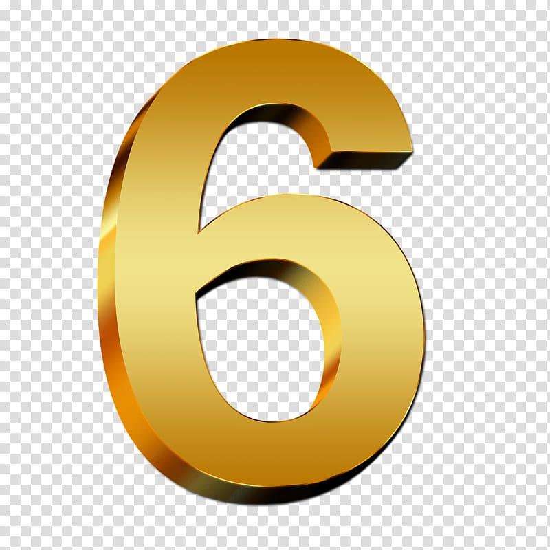 Number 6 clipart logo. Illustration gold transparent background