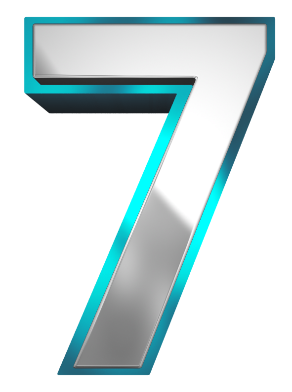 Number clipart blue. Metallic and seven png