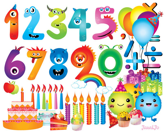 Numbers clipart monster.  cliparts birthday