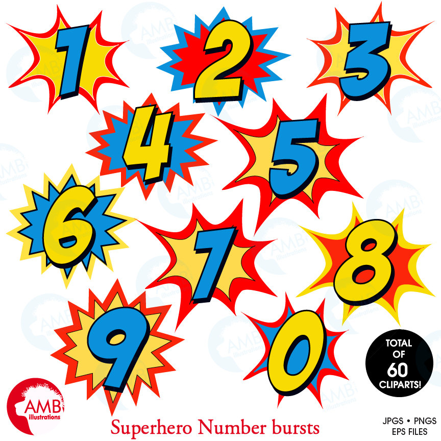 Burst clipart pink starburst. Superhero numbers with bursts