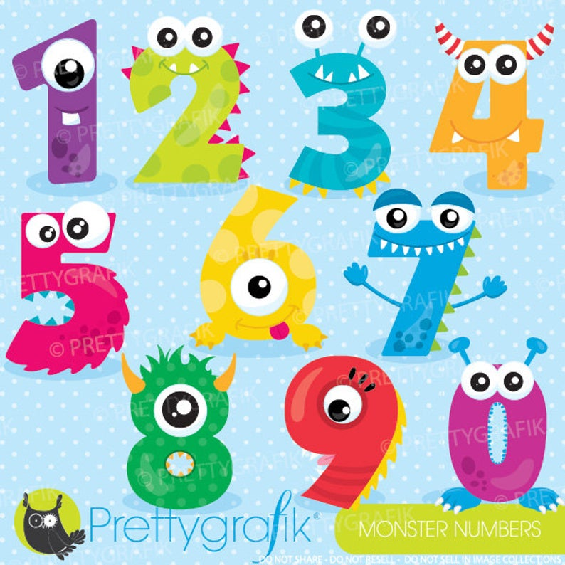 Numbers clipart monster. Buy get commercial use