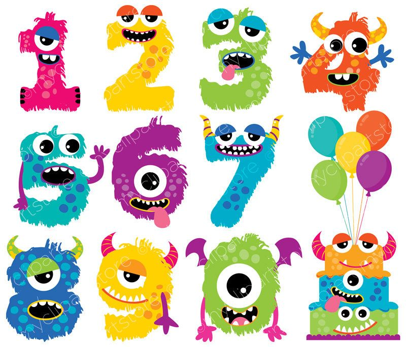 Girl cute alphabet . Numbers clipart monster
