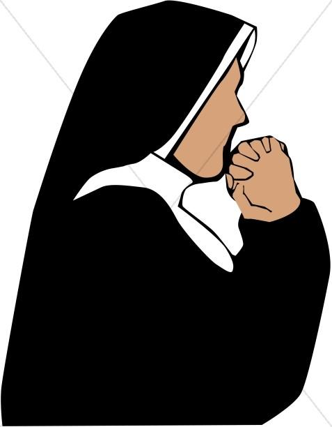 Nun clipart. In prayer church people