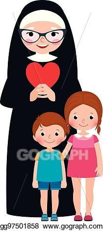 Vector senior and children. Nun clipart