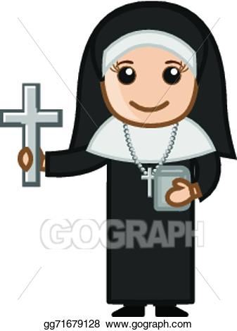 Eps vector showing holy. Nun clipart cartoon