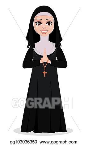 Nun clipart cartoon. Vector illustration character eps