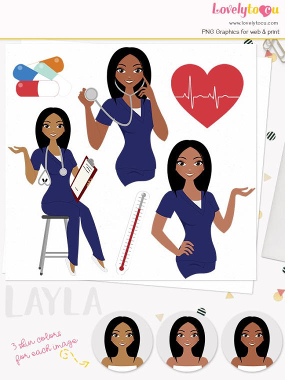 Woman character healthcare illustration. Nurse clipart accessory