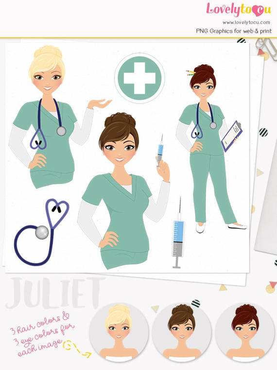 Nurse clipart artwork. Woman character healthcare illustration