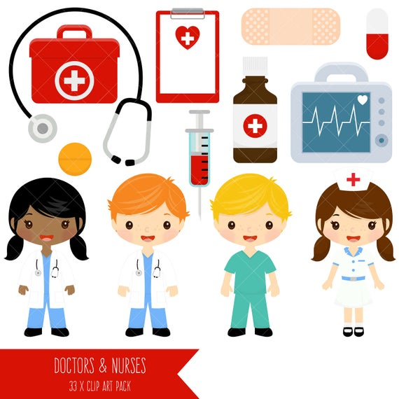 Doctor and cute doctors. Nurse clipart artwork