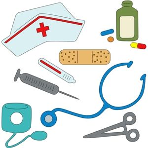 Nurses tools a silhouette. Nursing clipart community nurse