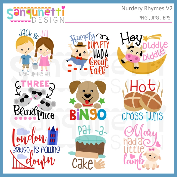 Sanqunetti design rhyme letteirng. Nursery clipart