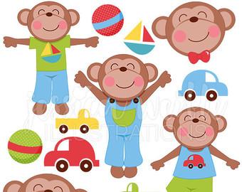 Etsy boyish monkeys cute. Nursery clipart