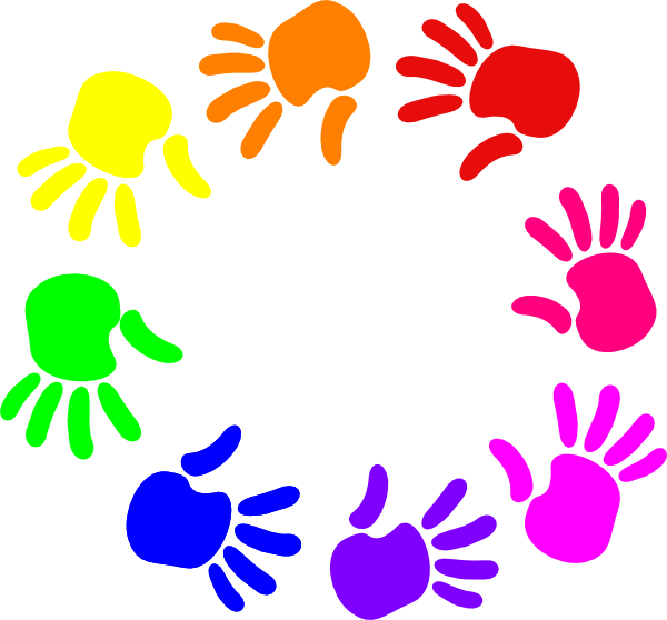 Colorful of nursery school. Hands clipart circle