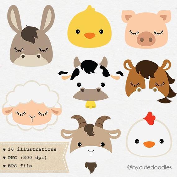 Farm animals art decor. Nursery clipart cute