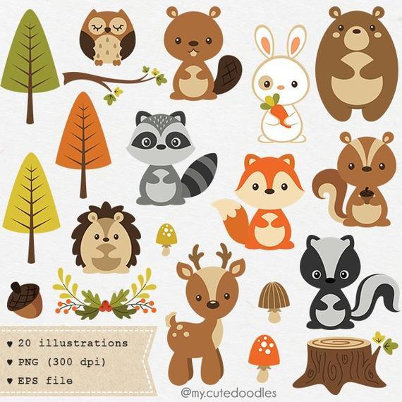 Woodland animal baby shower. Nursery clipart cute