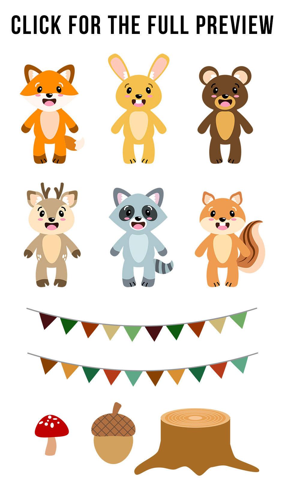 Nursery clipart cute. Woodland animals forest animal