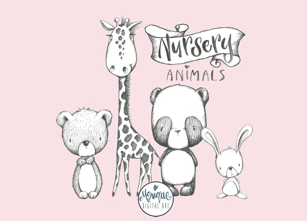 Nursery clipart cute. Woodland animals black and