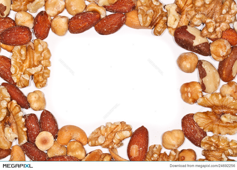 Of mixed stock photo. Nuts clipart border