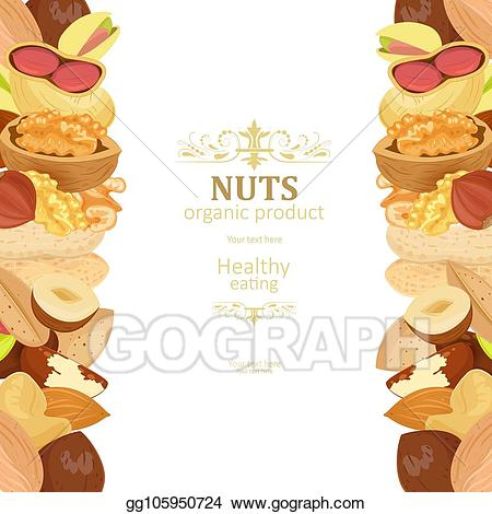 Nuts clipart border. Vector poster with borders