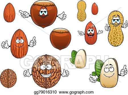 Nut clipart cartoon. Eps illustration isolated funny
