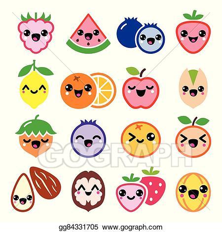 Nut clipart cute. Vector art kawaii fruit