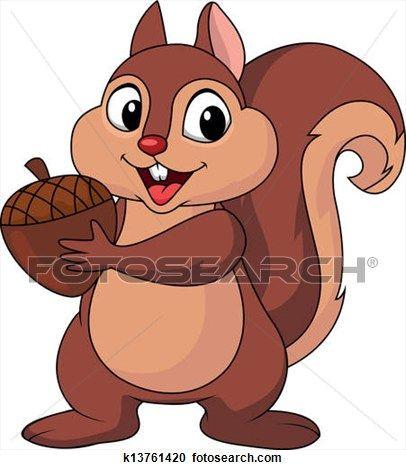Squirrel cartoon with gardening. Nut clipart cute