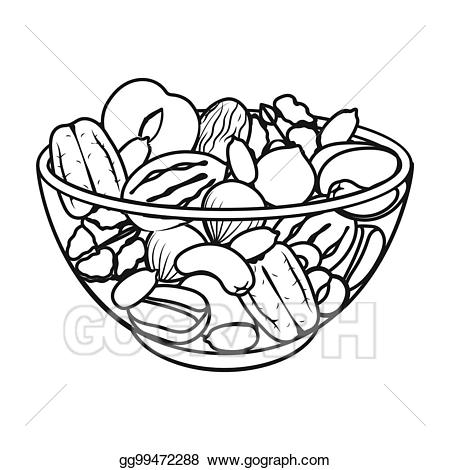A mixture of different. Nuts clipart outline