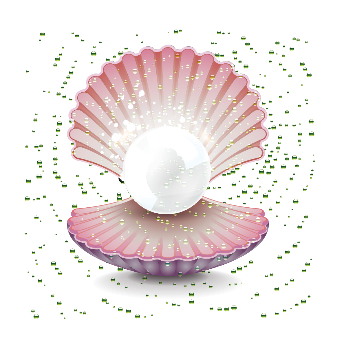 Pearl seashell gemstone clip. Shell clipart oyster shell