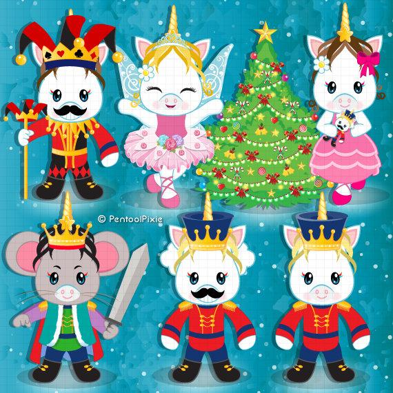 Christmas unicorns ballet mouse. Nutcracker clipart animated