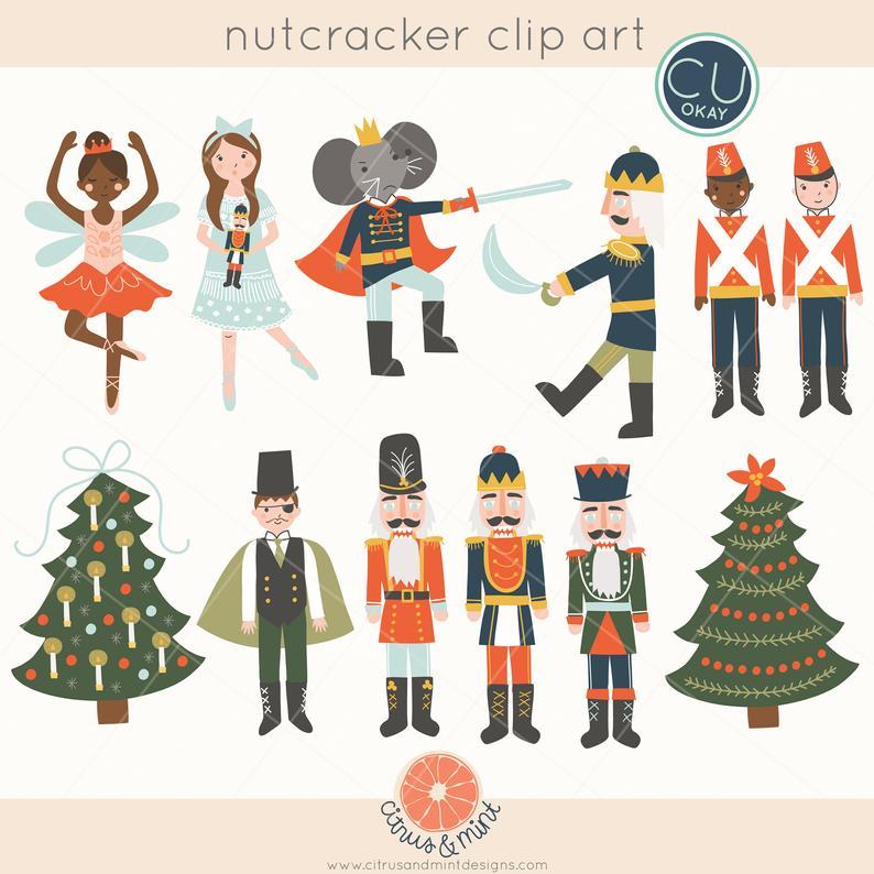 Ballet christmas clip art. Nutcracker clipart holiday
