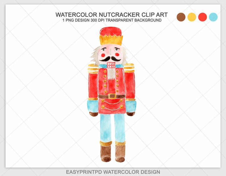 Nutcracker clipart vintage. Clip art digital watercolor