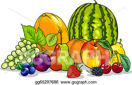 Nutrition clipart group fruit. Vector fruits cartoon illustration