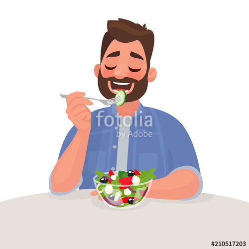 Is eating a salad. Nutrition clipart healthy man