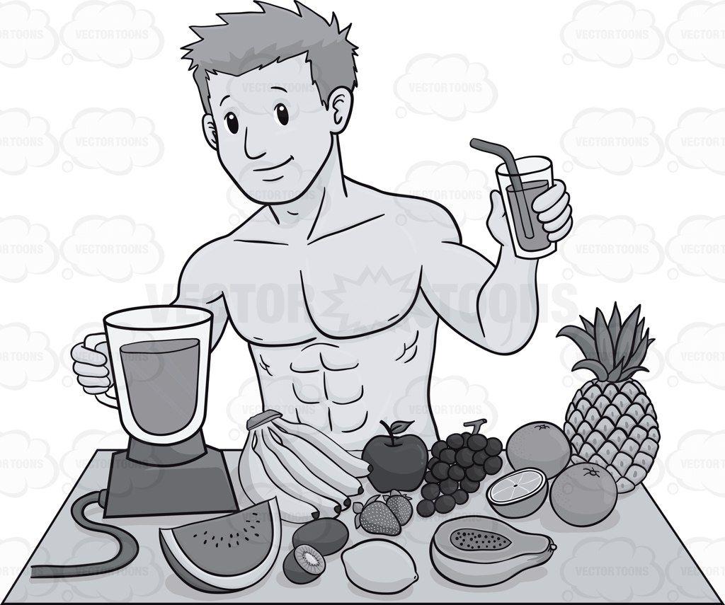 Muscular guy preparing a. Nutrition clipart healthy man