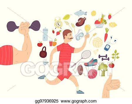 Nutrition clipart healthy man. Vector art running jogger