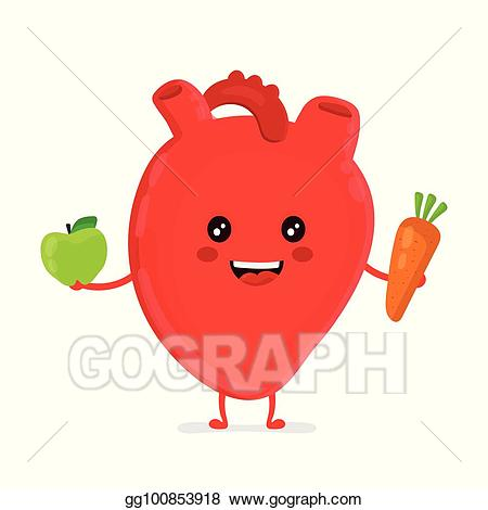 Vector art funny healthy. Nutrition clipart heart strong