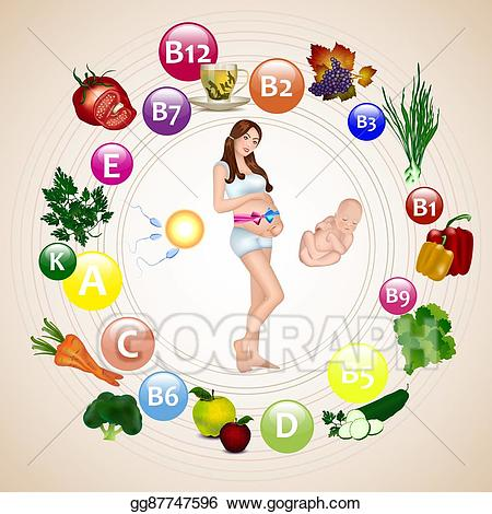 Vector nutrition during woman. Pregnancy clipart pregnant mother
