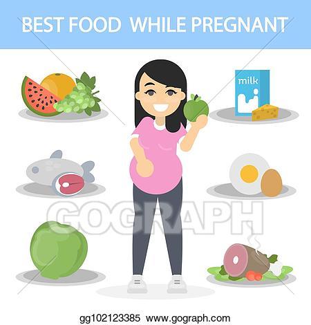 Vector illustration diet for. Pregnancy clipart pregnancy food