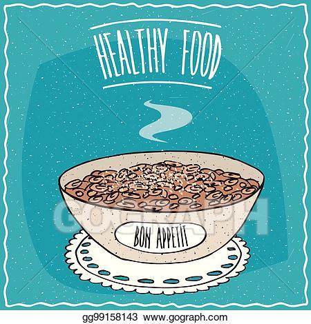 Oatmeal clipart health food. Eps illustration bowl of