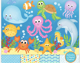 Etsy sea animals clip. Ocean clipart